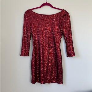 Tobi sequin red drop back mini dress